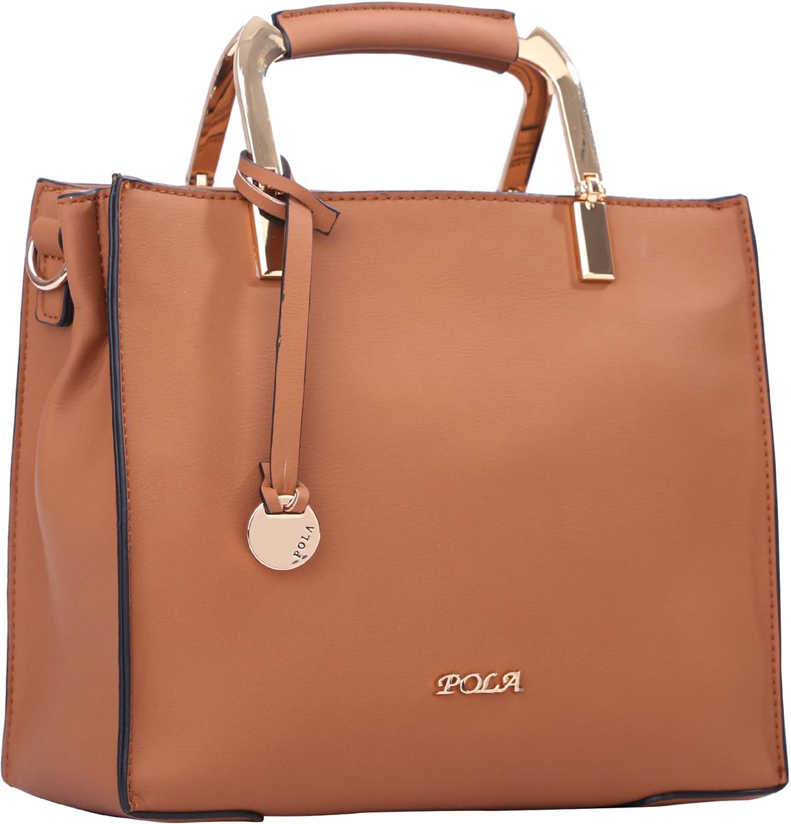 Сумка женская Pola, цвет: рыже-коричневый. 6443964439Женская сумка Pola выполнена из экокожи, сверху закрывается на молнию. Внутри основное отделение разделено на две части карманом на молнии. Дополнительно внутри два небольших открытых кармана и кармашек на молнии. В комплекте съемный, регулируемый по длине плечевой ремень, максимальной высотой 61 см. Ручки для переноски в руке металлические, высотой 6 см. Цвет фурнитуры- золото.