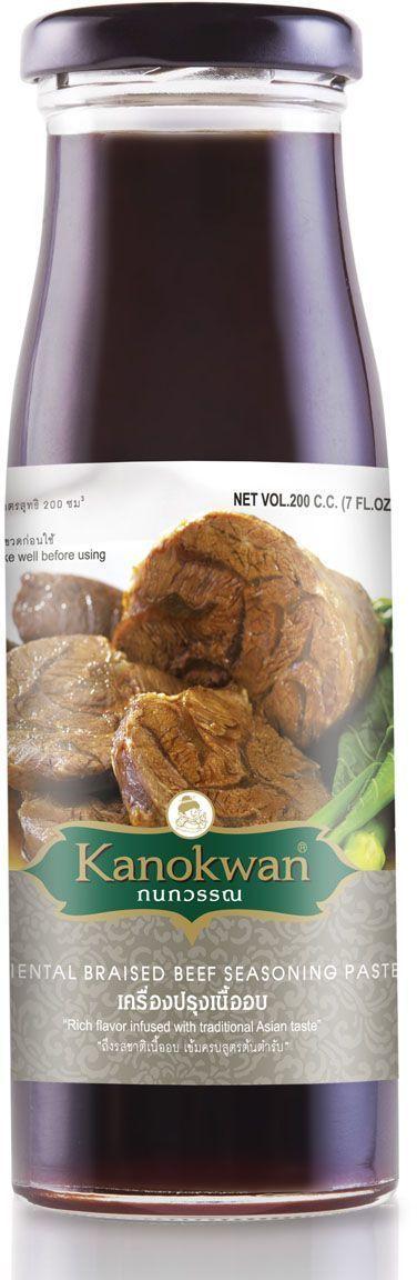 Kanokwan Соус для обжарки говядины, 200 млKW0002009Пряный, необычный, с узнаваемым ароматом пяти китайских специй, этот соус не только придаст изумительную мягкость любому мясу, но и наполнит вашу кухню восхитительными запахами. С этим соусом вы сможете за 15 минут приготовить массу блюд, которые сделают честь даже самому роскошному ресторану паназиатской кухни.