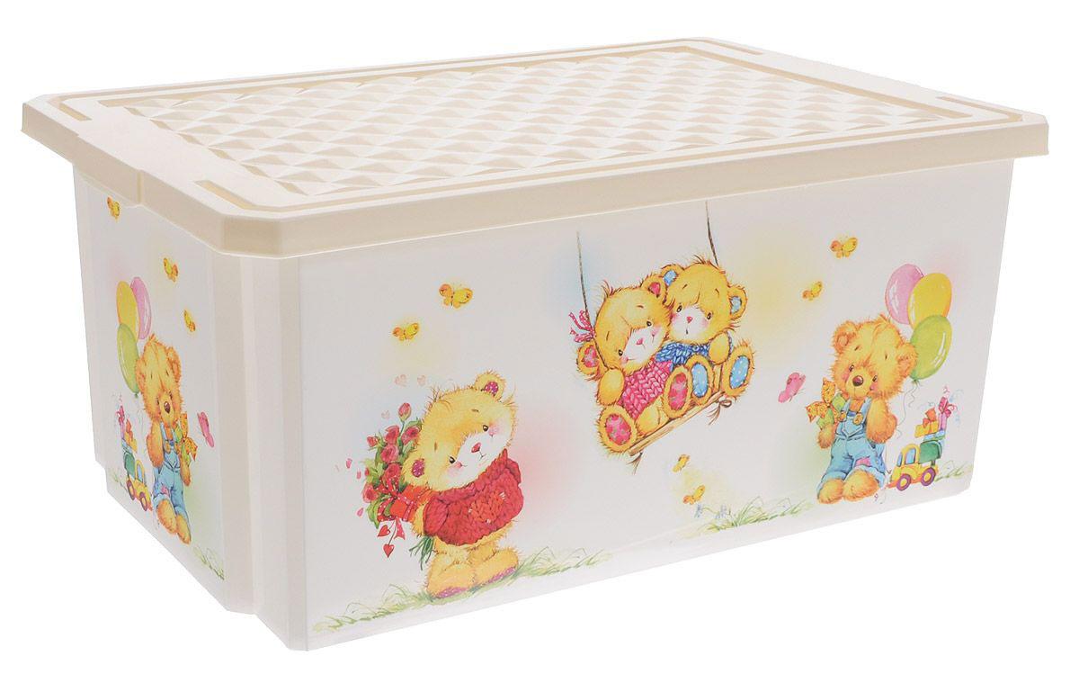 Little Angel Детский ящик для хранения игрушек X-BOX Bears 57 л цвет слоновая кость