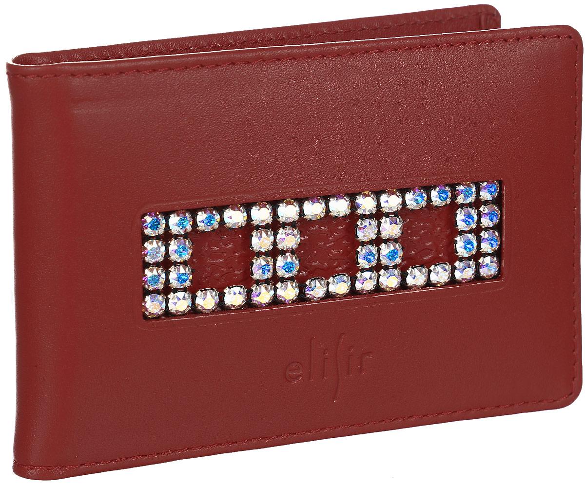 Визитница женская Elisir Классик красный, цвет: красный. EL-FL235-FW0027-000EL-FL235-FW0027-000Визитница Elisir выполнена из натуральной кожи. Коллекция Классик красный с композицией из белых кристаллов Swarovski. Внутри 4 кармана для кредиток и пластиковый блок на 28 карт или визиток. Лист на 1 карту. Упакован в подарочную коробку с тиснением Elisir.