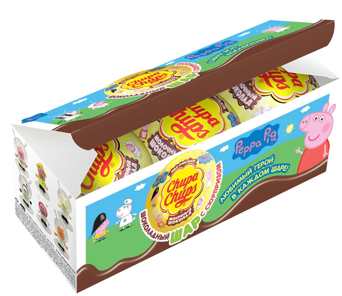 Chupa Chups Молочный шоколад Peppa Pig, 3 шт по 20 г купить шоколад для шоколадного фонтана на китайском сайте
