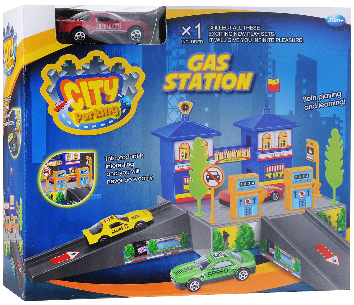Dave Toy Игровой набор Заправочная станция цвет машины красный