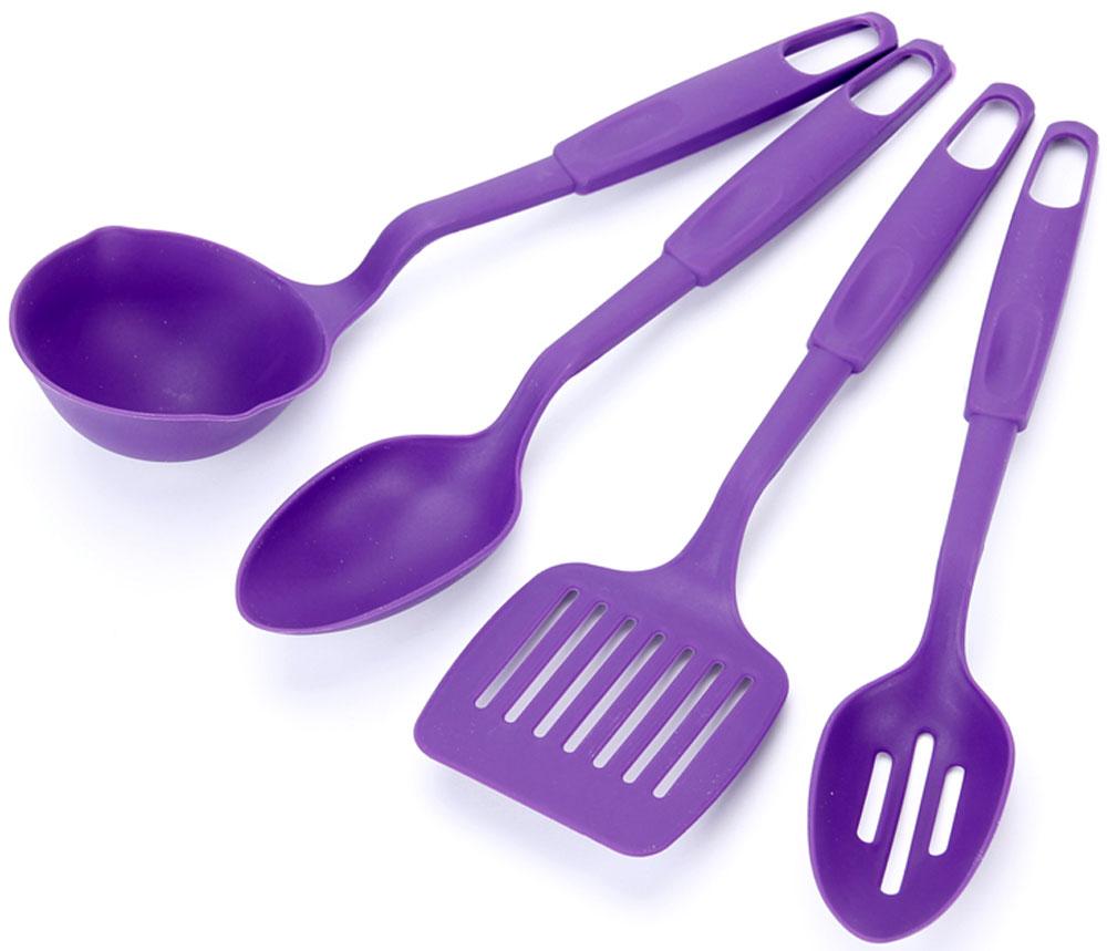 Набор кухонных принадлежностей Vetta, цвет: фиолетовый, 4 предмета881134Набор кухонных аксессуаров 4 прибора Vetta на подставке: ложка, лопаточка, половник и шумовка. Набор кухонных аксессуаров изготовлен из термостойкого пластика. Приборы удобны в использовании и станут отличным дополнением вашей кухни!