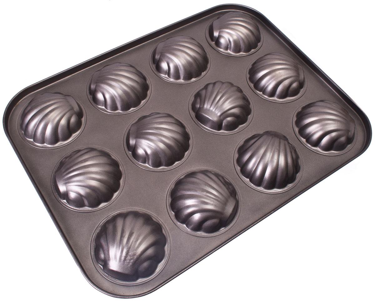Форма для выпечки Vetta Печенье. Ракушка, 12 ячеек, 35 x 26,5 см846212Форма для выпечки изготовлена из стали с антипригарным покрытием. Такая форма найдет свое применение для выпечки большинства кулинарных шедевров. Форма равномерно и быстро прогревается, выпечка пропекается равномерно. Благодаря антипригарному покрытию, готовый продукт легко вынимается, а чистка формы не составит большого труда. Какое бы блюдо вы не приготовили, результат будет превосходным!