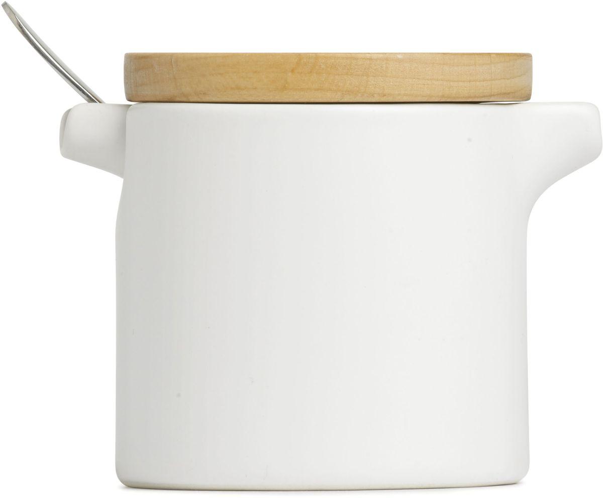 Набор Umbra SAVORE, для сахора и сливок. 461062-668461062-668Изящный сервировочный набор для любителей кофе и чая. Небольшая сахарница вмещает до 150 грамм сахара, а сливочник — до 200 мл. молока или сливок. В набор также входит никелированная чайная ложка. Предметы компактно складываются один в другой, экономя место при хранении. Стильное сочетание белой керамики и крышки из натурального дерева. Design: Moe Takemura & David Green