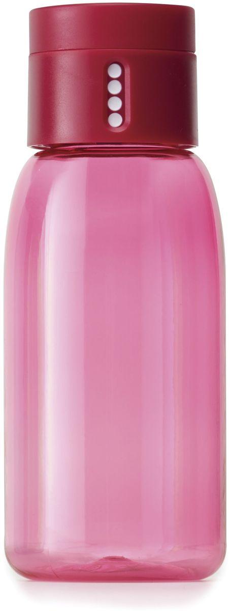 Бутылка для воды Joseph Joseph Dot, цвет: розовый, 400 мл81052Уникальная бутылка Dot в новом компактном размере. Инновационное решение для контроля ежедневного потребление воды без использования электронных гаджетов. Крышка со счетчиком фиксирует каждое наполнение бутылки в течение дня. Просто закрутите крышку до появления точки, а для питья используйте верхнюю крышку. Новая точка появится каждый раз, когда бутылка заново заполнена и крышка закручена. Из гладкого литого носика бутылки удобно пить даже на ходу или в машине. Широкое горлышко идеально для насыпания льда или фруктов и мытья. Герметичная крышка надежно защищает содержимое от протекания. Бутылка изготовлена из экологичного и удапрочного материала Tritan. Объем - 400 мл.