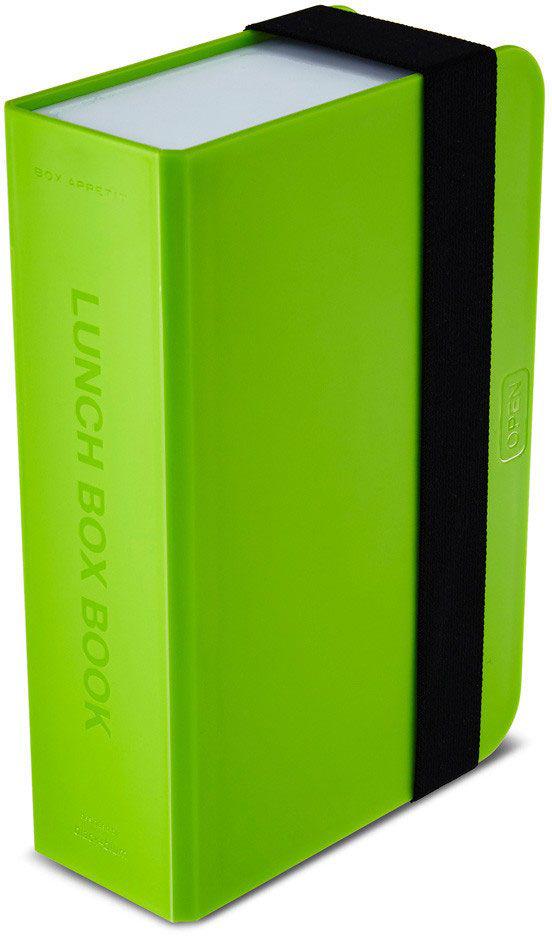 Ланч-бокс Black+Blum Box Book, цвет: лайм, 6,8 х 22,5 х 15BK-LB001Оригинальный ланч-бокс в виде книги. Вместительный контейнер позволяет брать с собой не только еду, но и небольшую бутылку любимого напитка. Во внутренней части предусмотрен съемный пластиковый разделитель, который необходим для разграничения порций или видов пищи. Скругленная форма углов придает дизайну дополнительную изюминку - такой необычный ланч-бокс станет хорошим подарком для всех ценителей здорового образа жизни. Изделие дополнено эластичным держателем, плотно фиксирующим крышку и лоток. Модель изготовлена из полипропилена, в составе отсутствуют вредные BPА. Крышка бокса откидывается, ее можно использовать в качестве тарелки или подставки для еды.