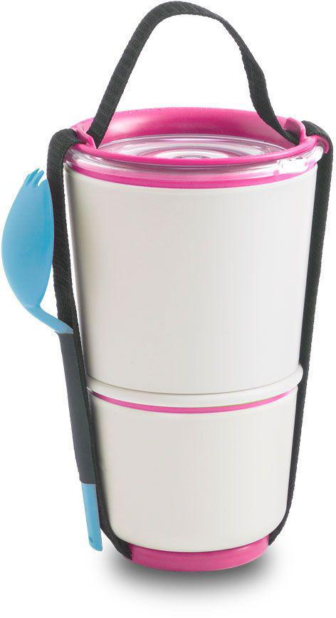 Ланч-бокс Black+Blum Lunch Pot, цвет: белый, розовый, 19 х 11,6 х 11,6BP002Универсальный ланч-бокс Black+Blum уже стал лидером продаж в Европе. Он состоит из двух контейнеров с надежной защитой от протечек, и вы сможете взять на работу сразу два блюда и не бояться, что все перемешается. В комплект входят текстильный ремешок и пластиковая вилка-ложка. Пустые контейнеры компактно складываются для удобной переноски. Можно использовать в микроволновой печи и мыть в посудомоечной машине. Объем: нижняя чаша 300 мл, верхняя чаша - 550 мл.