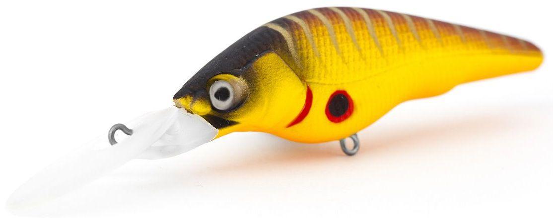 Воблер суспендер Atemi Black Widow Two, цвет: Mat Tiger, длина 6 см, вес 8,5 г, заглубление 2 м513-00130Приманка Atemi Воблер Black Widow - яркая и качественная приманка, которая рекомендуется для ловли щуки, форели, басса, голавля, жереха, желтоперого судака, окуня. Эта легкая приманка может использоваться для ловли рыбы вверх по течению, если обеспечить более высокую, нежели скорость течения, скорость проводки. Воблер также может использоваться и при ловли против течения.