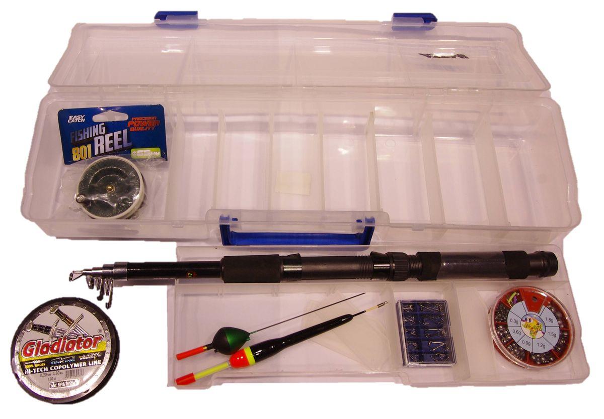 Набор для рыбалки Atemi, 6 предметовП909-00112Подарочный комплект для рыбалки. Коробка ATEMI +спиннинг телескопический ATEMI CLASSIX с неопреновой ручкой + катушка + поплавок ATEMI +леска +набор грузов дробь +набор крючков