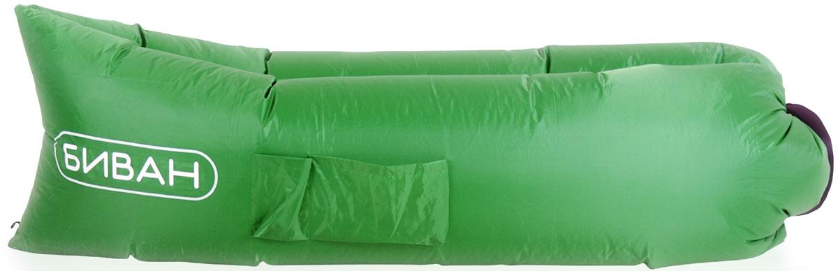 Диван надувной Биван, цвет зеленый, 200 х 90 см8002Надувается за 15 секунд без насоса, держит воздух 12 часов, ремонтопригоден (рем. комплект продается отдельно)