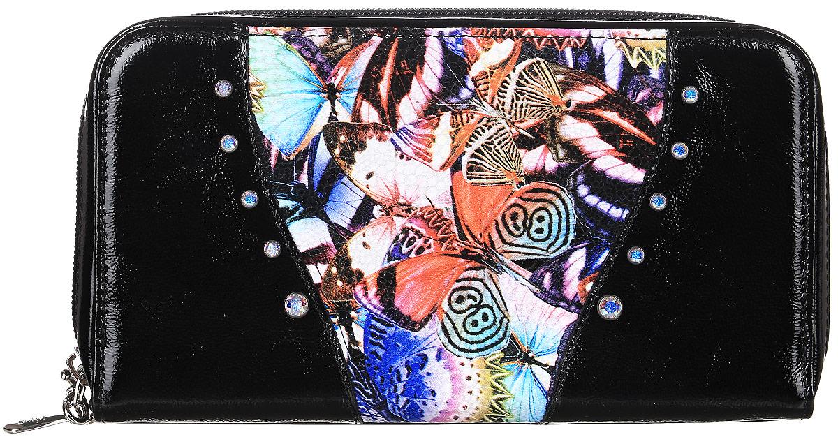 Портмоне женское Elisir Butterfly, цвет: черный. EL-NK271-PR0065-000EL-NK271-PR0065-000Женское портмоне Elisir выполнено из натуральной кожи. Модель с композицией из кристаллов Swarovski, закрывается на молнию, дополнено ручкой-петлей на карабине. Внутри 4 отделения для купюр, отделение для мелочи на молнии и 16 карманов для кредиток. Упакован в картонной коробке Elisir.