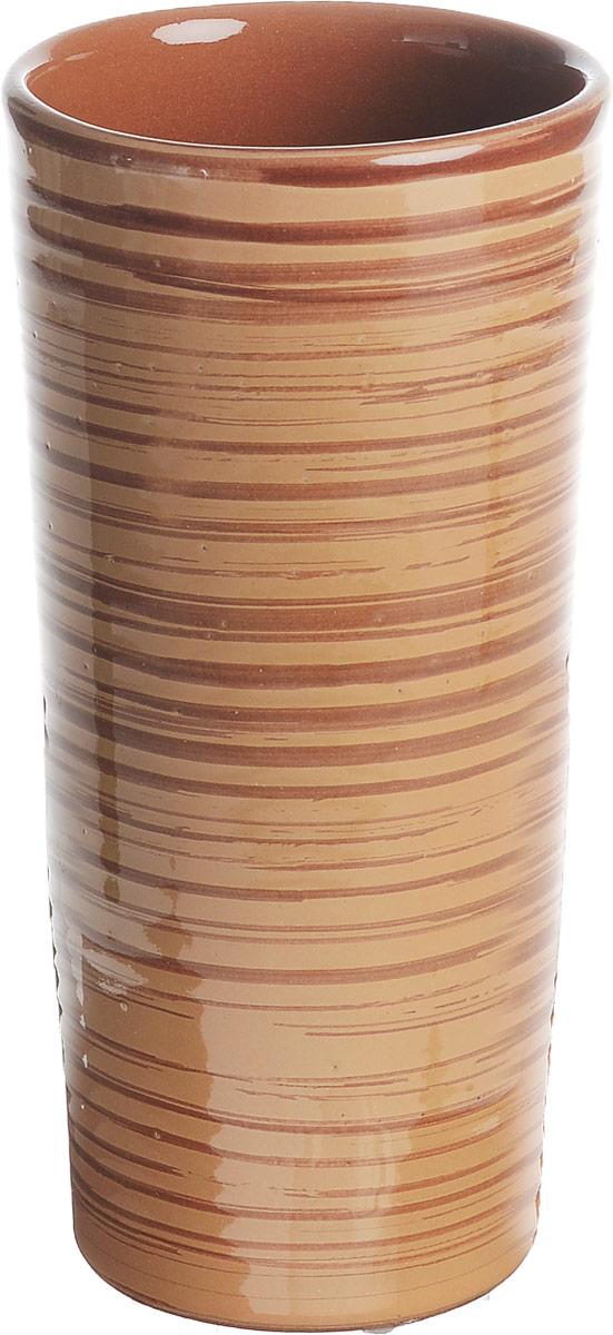 Вазон-стакан Борисовская керамика Cтандарт, цвет: светло-коричневый, 400 млОБЧ00000667Вазон-стакан Борисовская керамика Cтандарт изготовлен из высококачественной глазурованной керамики. Внешние стенки декорированы принтом в полоску. Благодаря высоким стенками он может быть использован в качестве стакана или вазы. Дизайн изделия подчеркнет оригинальность интерьера и прекрасный вкус хозяина. Диаметр (по верхнему краю): 7,5 см. Диаметр дна: 6 см. Высота стакана: 15,5 см.