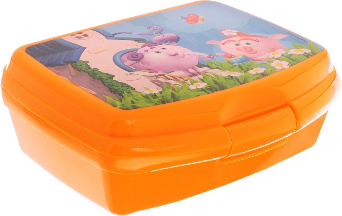 Смешарики Бутербродница детскаяSMLB-01Детскую бутербродницу Смешарики очень удобно брать с собой на прогулку и в школу. Она изготовлена из прочного полипропилена. Лицевая сторона изделия декорирована изображением Бараша и Нюши из мультфильма Смешарики. Ваш ребенок может самостоятельно открывать и закрывать ее, ведь удобный зажим разработан специально для маленьких ручек.