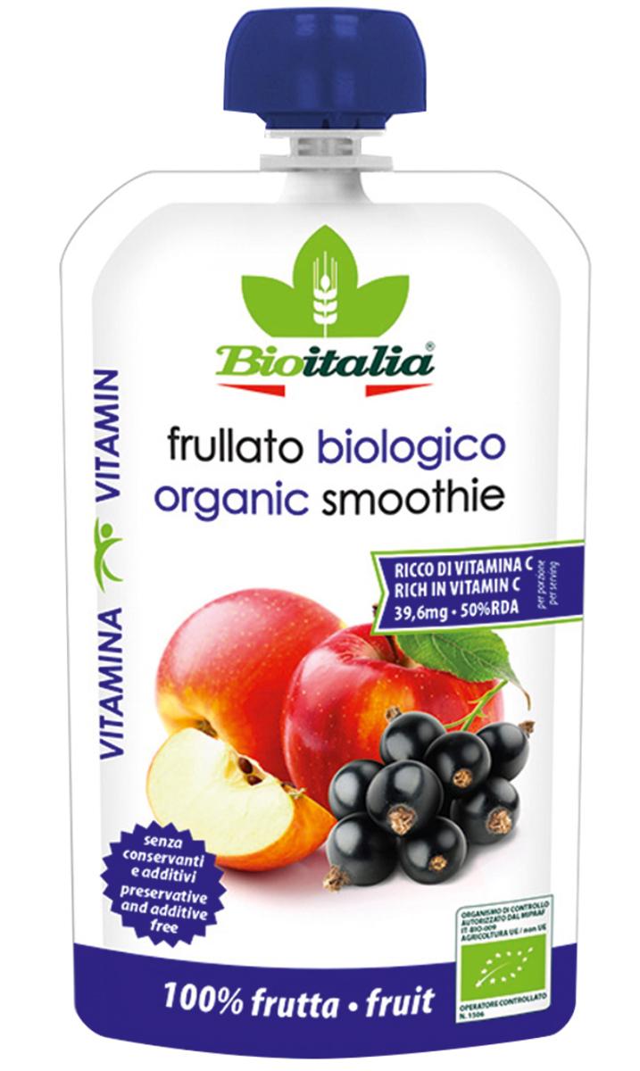 Bioitalia Пюре из яблока и черной смородины смузи, 120 г1770253