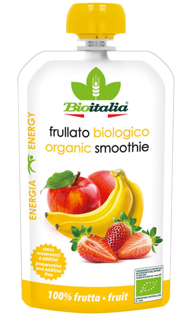 Bioitalia Пюре из яблока, клубники и банана смузи, 120 г1770255