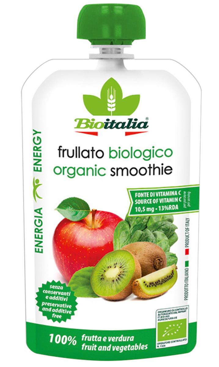 Bioitalia Пюре из яблока, киви и шпината смузи, 120 г1770257