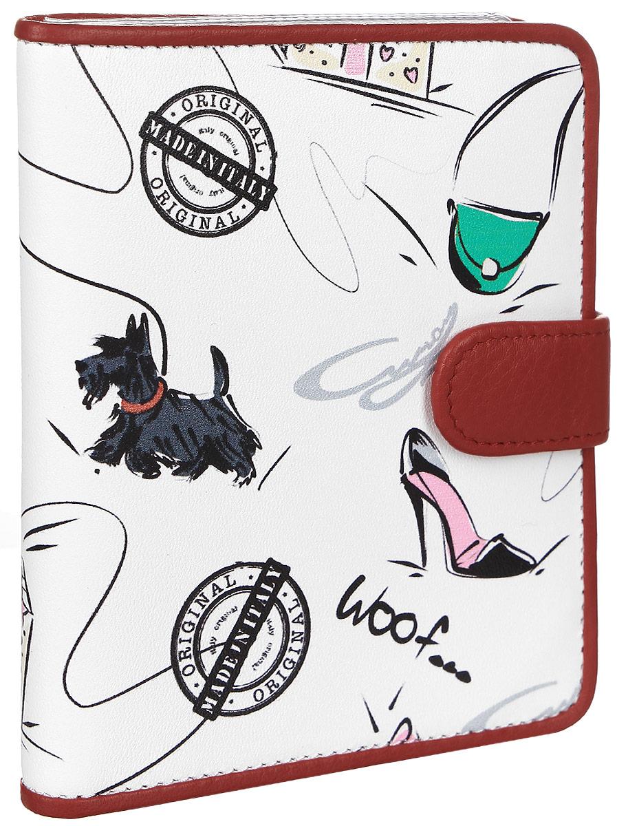 """Обложка для автодокументов женская Curanni """"Сони"""", цвет: белый, красный. п105"""