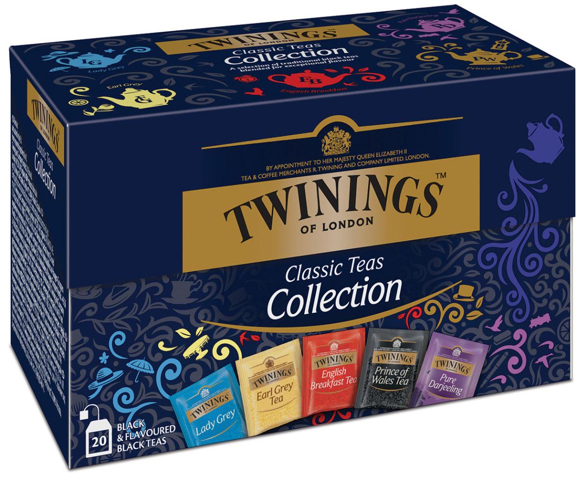 Twinings Classic Collection черный чай пяти видов в пакетиках, 20 шт0070177174729Чай черный в пакетиках Twinings Classic Collection (Твайнингс Классическая коллекция) - это специальная упаковка, содержащая 5 видов черного ароматизированного чая Twinings, индивидуально упакованного, по 5 пакетиков каждого вида: Английский чай для завтрака, Эрл Грей, Леди Грей, Принц Уэльский и Дарджилинг.