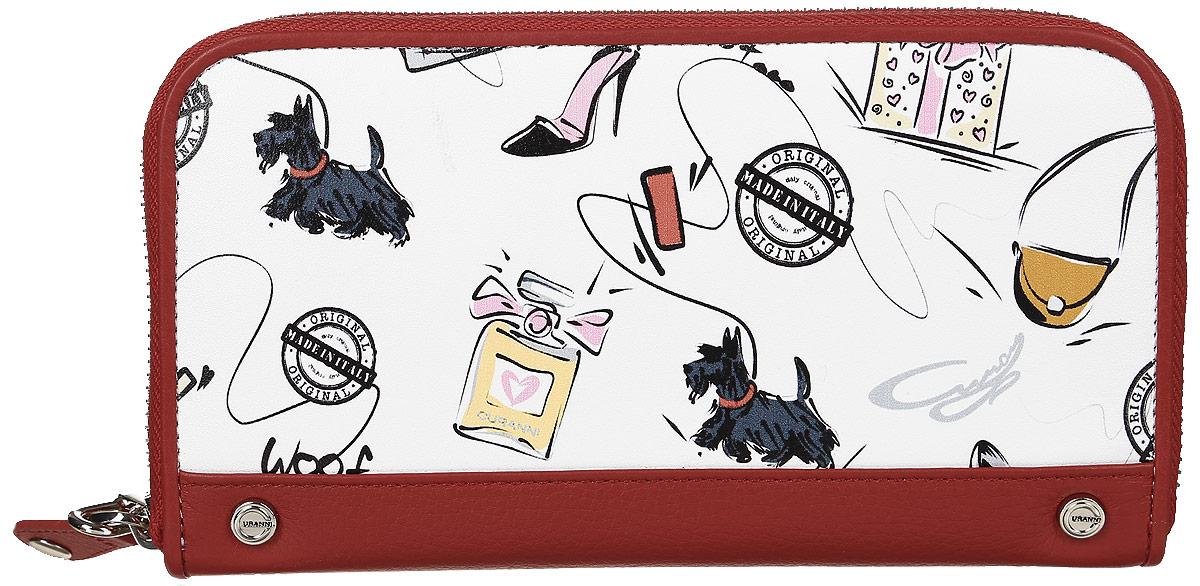 Кошелек женский Curanni Сони, цвет: белый, красный. п107п107Стильный кошелек итальянского бренда итальянского бренда Curanni от известной дизайнерской студии Sepani lab, выполнена из высококачественной кожи с оригинальным принтом и яркой отделкой. Закрывается на молнию. Внутри: четыре отдела для купюр, отделение для мелочи на молнии, несколько кармашков для пластиковых карт, два открытых кармана вдоль кошелька.