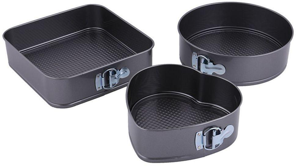Набор форм для выпечки Vetta, разъемные, с антипригарным покрытием, 3 шт846204В процессе использования посуды с покрытием рекомендуется использование кухонных аксессуаров из дерева, термостойкого пластика или силикона. Во избежание повреждения покрытия не рекомендуется использовать кухонные аксессуары из металла, нельзя резать пищу на покрытии. Не допускайте термо-шоков - не охлаждайте нагретую посуду под холодной водой и не ставьте посуду из холодильника на источник тепла. Для мытья используйте нейтральные моющие средства и мягкую губку.