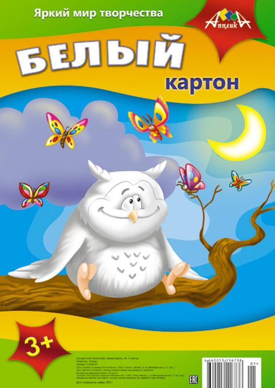 Апплика Белый картон Сова 5 листовС2462-01