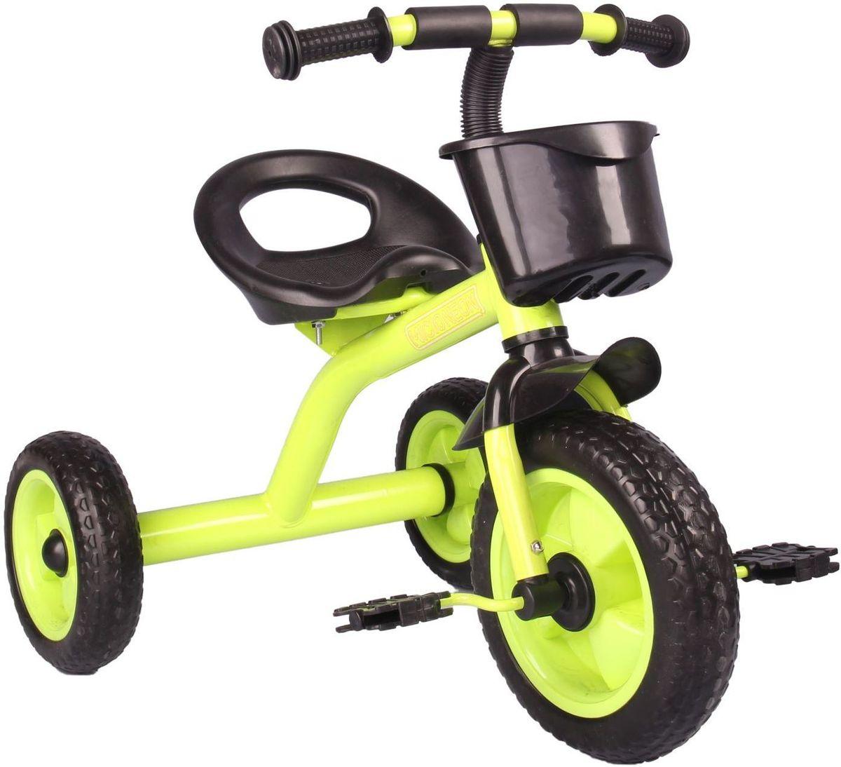Micio Велосипед детский трехколесный Micio Neon 2017 цвет зеленый1723819Удобный, надёжный, стильный трёхколёсный велосипед — находка для начинающего спортсмена. Прочная стальная рама и пластиковые колёса выдержат любые испытания во время заездов в парке или во дворе. Широкое сиденье со спинкой сделает поездку комфортной. А для игрушек и других необходимых велосипедисту предметов предусмотрена удобная пластиковая корзинка. Размеры Длина от заднего колеса до переднего: 70 см. Расстояние между задними колёсами: 48 см. Высота от руля до пола: 56 см. Высота от седла до пола: 35 см. Расстояние от середины седла до дальней педали: 47 см. Масса нетто: 3,3 кг. Максимальная нагрузка: 30 кг.