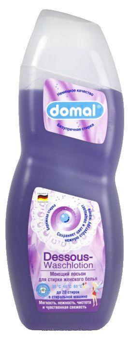 Моющий лосьон Domal для женского белья, 750 мл112001Моющий лосьон для стирки женского белья (для цветных и белых вещей). На 20 стирок. Этот лосьон был специально разработан для мягкой и бережной стирки женского белья, тонких чулок и нежных аксессуаров. Он с особенной тщательностью отстирывает загрязнения, при этом ухаживая и защищая ткани от повреждений нежной структуры в процессе стирки. Придает белью приятную мягкость, гигиеническую чистоту и нежную чувственную свежесть. Сохраняет яркость и насыщенность цвета, предотвращает появление серости. Регулярное использование помогает надолго сохранить первоначальный вид белья. Не содержит агрессивных химических веществ. Дерматологически протестировано. Предназначено для всех типов стиральных машин и ручной стирки при температуре от 30 до 60 градусов. Содержит добавки, препятствующие образованию накипи. Экономичность: 1 флакона средства достаточно для 20 машинных стирок. Способ применения: Машинная стирка на 2,5 кг сухого белья см. указания на этикетке сзади. Ручная стирка: растворить 1...