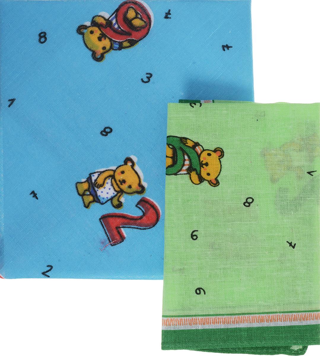Платок носовой детский Zlata Korunka, цвет: голубой, зеленый. 40230-26. Размер 21 х 21 см, 2 шт40230-26_синийДетский носовой платок Zlata Korunka изготовлен из высококачественного натурального хлопка, благодаря чему приятен в использовании. Платок хорошо стирается, не садится и отлично впитывает влагу. Платочек декорирован оригинальным принтом. В комплекте 2 платка.