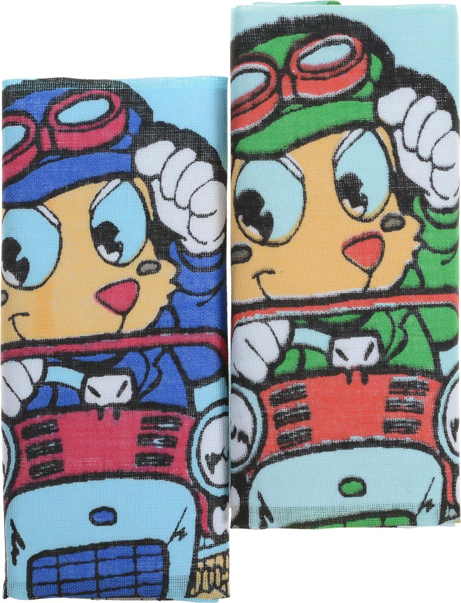 Zlata Korunka Носовой платок детский, цвет: мультиколор, 21 х 21 см, 2 шт40230-33_зверь на машине и в каскеZlata Korunka Носовой платок детский, цвет: мультиколор, 21 х 21 см, 2 шт