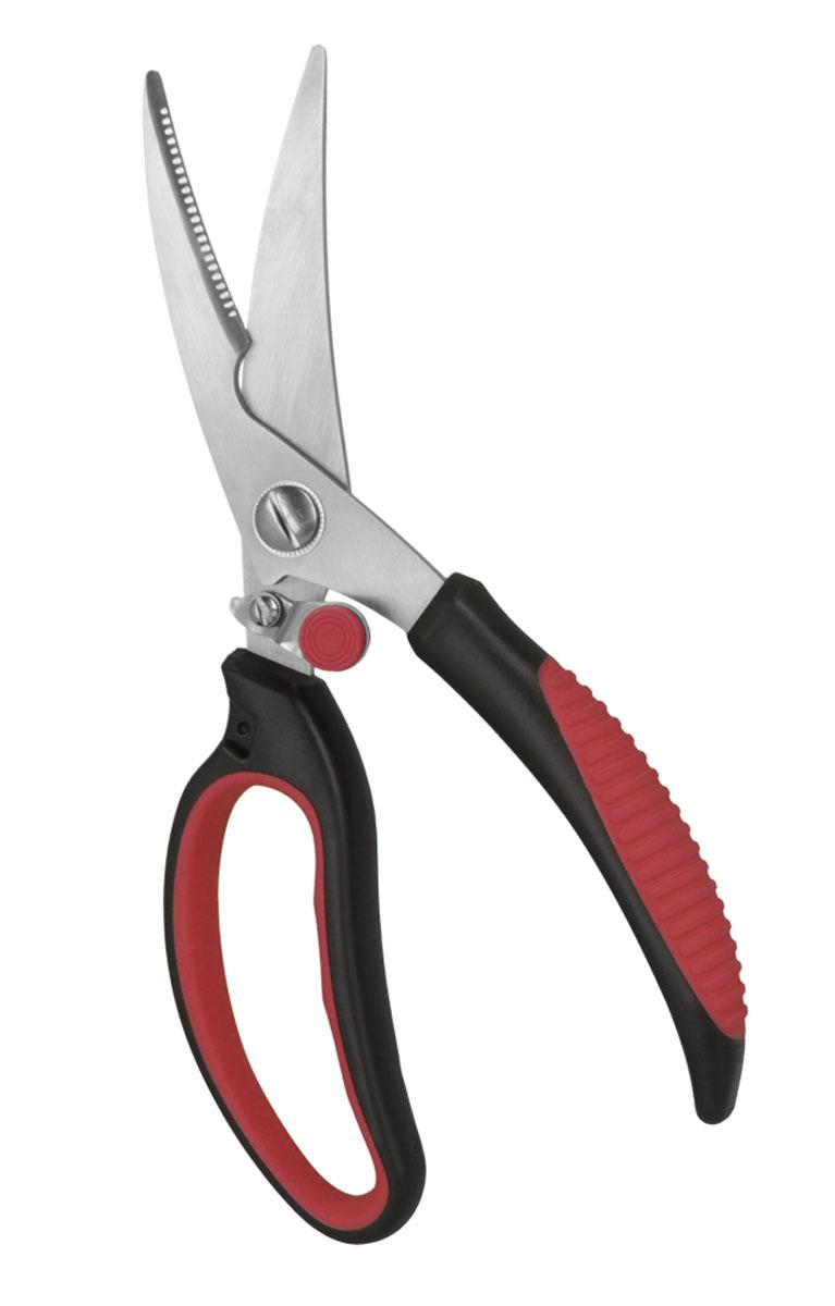 Ножницы кухонные Metaltex, длина 23 см25.18.01Кухонные ножницы Metaltex c нескользящей ручкой и зазубренным нижним лезвием предназначены для работы с продуктами также легко справятся с разделкой и обработкой птицы . Эргономично разработанные ручки SOFT TOUCH очень удобны для захвата и обеспечивают удобство при работе. Ручки ножниц выполненны из нетоксичной сверхпрочной пластмассы без содержания кадмия. Уникальный способ соединения ручек с лезвием гарантирует прочный спай между ними. Граненое лезвие для точного среза. Дизайн высококачественных нержавеющих стальных лезвий позволяет использовать режущую поверхность по всей длине лезвия. Механизм блокировки включается большим пальцем. Допускается мытье в посудомоечной машине .