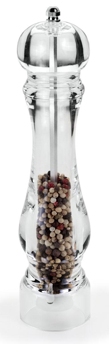 Мельница для специй Metaltex, цвет: прозрачный, высота 26 см25.28.24Мельница для перца Metaltex, изготовленная из акрила, легка в использовании. Она удивит вас высоким качеством, функциональностью и оригинальным дизайном. Стоит только покрутить верхнюю часть мельницы, и вы с легкостью сможете поперчить по своему вкусу любое блюдо. Механизм мельницы изготовлен из керамики. Регилировка Абсолютная прозрачность изделия привнесет красоту и изящество в интерьер современной кухни и, конечно, в сервировку стола. Степень измельчения специй, осуществляется завинчивания или ослабления винта верхней части корпуса. Окружите себя стильными и изысканными предметами сервировки.