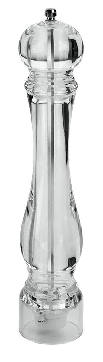 Мельница для специй Metaltex, цвет: прозрачный, высота 32 см25.28.26Мельница для перца Metaltex, изготовленная из акрила, легка в использовании. Она удивит вас высоким качеством, функциональностью и оригинальным дизайном. Стоит только покрутить верхнюю часть мельницы, и вы с легкостью сможете поперчить по своему вкусу любое блюдо. Механизм мельницы изготовлен из керамики. Регилировка Абсолютная прозрачность изделия привнесет красоту и изящество в интерьер современной кухни и, конечно, в сервировку стола. Степень измельчения специй, осуществляется завинчивания или ослабления винта верхней части корпуса. Окружите себя стильными и изысканными предметами сервировки.