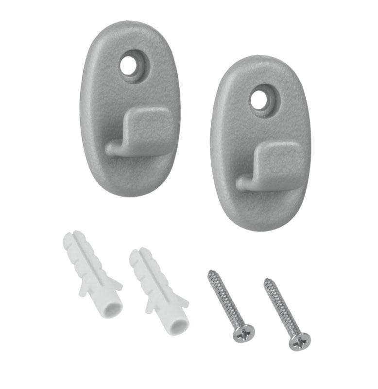 Крючки Metaltex Onda, 2 шт46.00.00Универсальный набор MetaltexONDA состоит из двух крючков, выполненных из прочного пластика. Крючок крепится к стене при помощи одного шурупа с дюбелем (входят в комплект) На крючки можно повесить полки для ванной комнаты, полки на кухню. Стильный дизайн изделий впишется в любой интерьер.