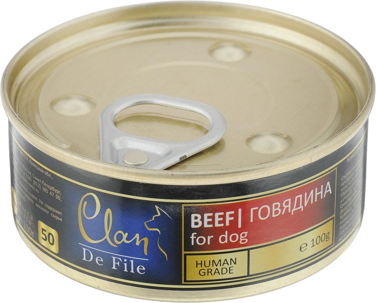 Консервы для собак Clan De File, с говядиной, 100 г130.3.040Clan De File - полнорационный влажный корм для каждодневного питания собак. У корма насыщенный вкус и сбалансированный состав. Консервы изготовлены из высококачественного мясного сырья. Для производства корма используется щадящая технология, бережно сохраняющая максимум питательных веществ и витаминов, отборное сырье и специально разработанная рецептура, которая обеспечивает продукции изысканный деликатесный вкус и ярко выраженный аромат. Товар сертифицирован.