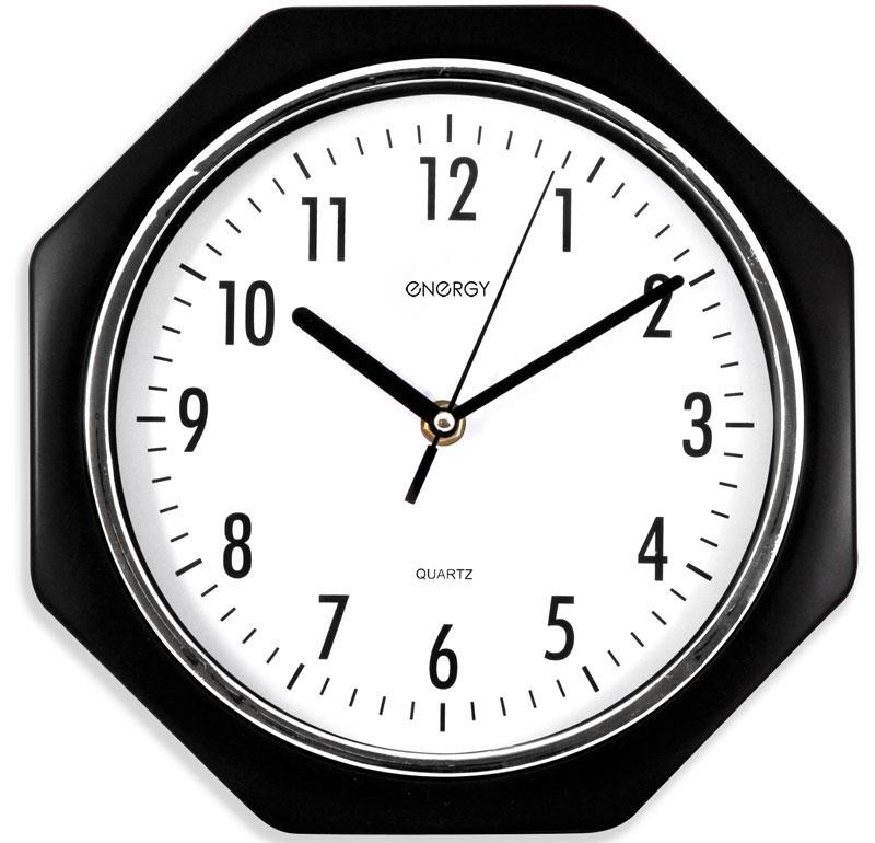 Energy ЕС-06 Восьмиугольные настенные часы54 009306Настенные кварцевые часы с плавным ходом Energy ЕС-06 имеют классический строгий дизайн и поэтому подойдут как для дома, так и для офиса. Крупные цифры черного цвета отлично различимы в условиях плохого освещения. Питание осуществляется от 1 батарейки типа АА (в комплект не входит).