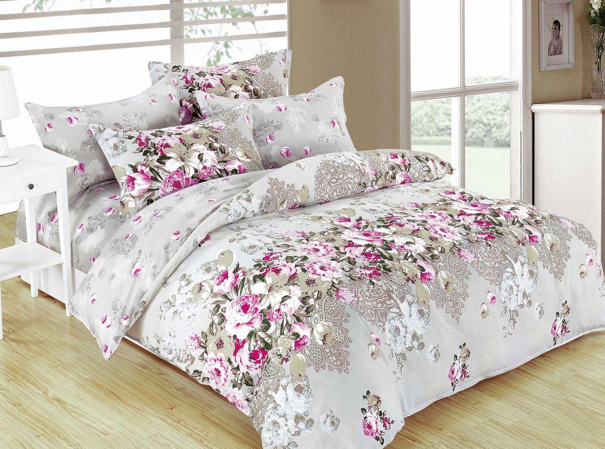 Комплект белья Amore Mio Zina, 2-спальный, наволочки 70x70, цвет: зеленый, серый, розовый82920Комплект постельного белья Amore Mio является экологически безопасным для всей семьи, так как выполнен из сатина (100% хлопок). Постельное белье оформлено оригинальным рисунком и имеет изысканный внешний вид. Сатин - это ткань сатинового (атласного) переплетения нитей. Имеет гладкую, шелковистую лицевую поверхность, на которой преобладают уточные нити (уток - горизонтально расположенные в тканом полотне нити). Сатин изготавливается из крученой хлопковой нити двойного плетения. Он чрезвычайно приятен на ощупь, не электризуется и не скользит по кровати. Сатин прекрасно сохраняет форму и не мнется, отлично пропускает воздух, что позволяет телу дышать и дарит здоровый и комфортный сон. Комплект состоит из пододеяльника, простыни и двух наволочек.