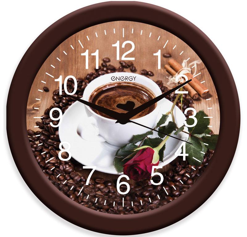 Energy ЕС-101 Кофе настенные часы54 009474Настенные кварцевые часы с плавным ходом Energy ЕС-101 имеют яркий оригинальный дизайн и поэтому подойдут для вашего дома или офиса, декорированного в подобном стиле. Крупные цифры белого цвета на коричневом фоне отлично различимы даже в условиях плохого освещения. Питание осуществляется от 1 батарейки типа АА (в комплект не входит).