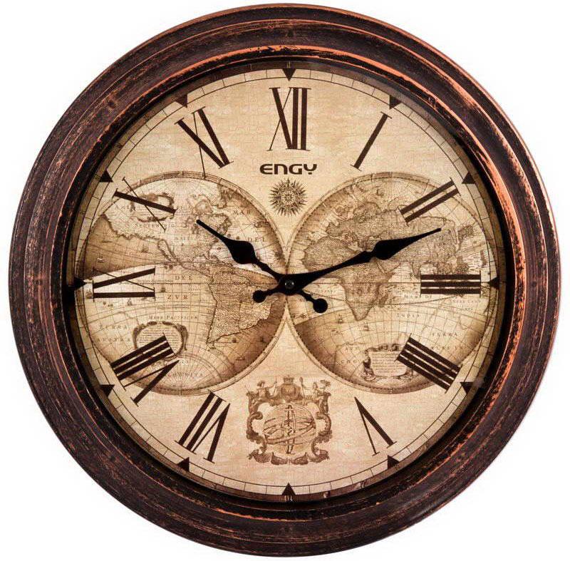 Engy ЕС-17 Круглые настенные часы54 009317Настенные кварцевые часы с плавным ходом Engy ЕС-17 имеют оригинальный дизайн под старину и поэтому подойдут для вашего дома или офиса, декорированного в подобном стиле. Крупные цифры черного цвета на светло-коричневом фоне отлично различимы даже в условиях плохого освещения. Питание осуществляется от 1 батарейки типа АА (в комплект не входит).