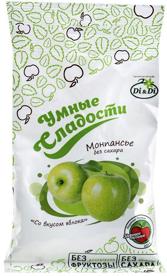 Умные сладости Леденцы без сахара зеленое яблоко, 55 г4607068497818Продукт не содержит сахара. Подходит для диетического питания.