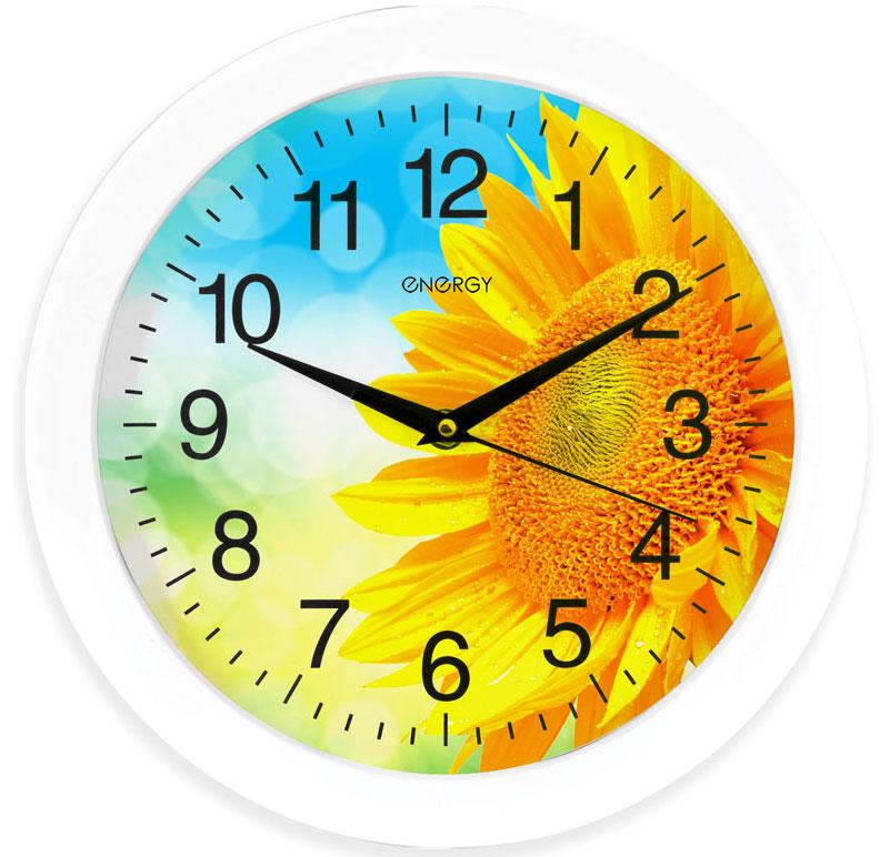 Energy ЕС-97 Подсолнух настенные часы54 009470Настенные кварцевые часы с плавным ходом Energy ЕС-97 имеют оригинальный яркий дизайн и поэтому подойдут для вашего дома или офиса, декорированного в подобном стиле. Крупные цифры черного цвета на цветном фоне отлично различимы даже в условиях плохого освещения. Питание осуществляется от 1 батарейки типа АА (в комплект не входит).