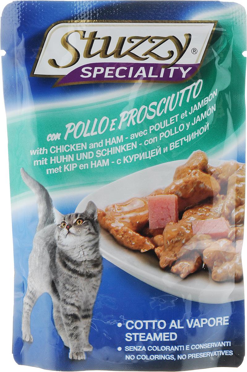 Консервы Stuzzy Speciality, для взрослых кошек, с курицей и ветчиной, 100 г131.2504Консервы Stuzzy Speciality - это корм для взрослых кошек, который отличается большой натуральностью. В консервах есть все, что нужно вашей кошке: питательные вещества, минералы, витамины. Состав: мясо и мясопродукты 45% (из них курицы 10%, ветчины 5%), продукты растительного происхождения, (из них инулина 0,4%), минералы. Добавки/кг: витамин D3 200 y.e., витамин Е (Альфа-токоферол) 100 мг, биотин 100 мг, таурин 100 мг, моногидрат сульфата цинка (Zn 13,5 мг), пентагидрат сульфата меди (Cu 15,8 мг), моногидрат сульфата марганца (Mn 4.6 мг), йодид калия (I 0,6 мг) Пищевая ценность: протеины - 8%, жир - 4,5%, сырая зола - 2%, сырая клетчатка - 0,4%, влажность - 82%. Вес: 100 г. Товар сертифицирован!