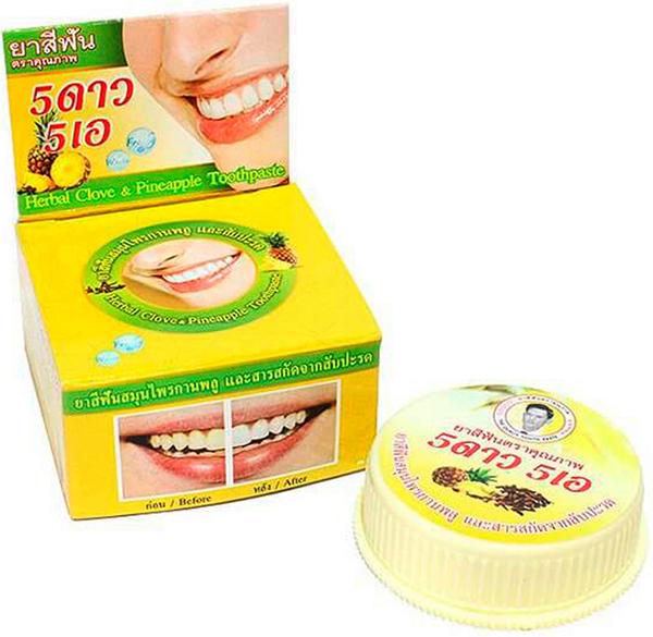 5 Star Cosmetic травяная отбеливающая зубная паста с экстрактом Ананаса5739335В ананасе содержится большое количество витамина С, который способен укрепить зубы и десны. Также экстракт ананаса препятствует образованию зубного камня, снижает кровоточивость десен и риск заболевания пародонтозом и гингивитом. Зубная паста освежает дыхание и устраняет зубной налет, отбеливает, предотвращает появление кариеса. Подходит для чувствительных зубов. Очень экономична. Не содержит консервантов, фтор и его производных.