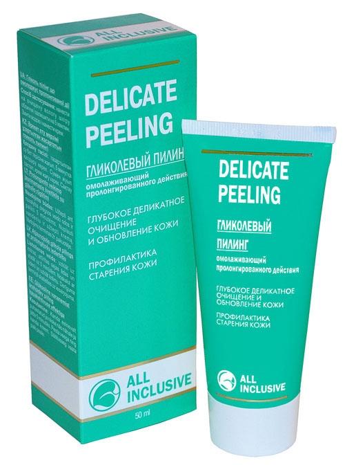 DELICATE PEELING Гликолевый пилинг, Омолаживающий, пролонгированного действия All Inclusive, 50мл200501Гликолевый пилинг очень деликатно воздействует на кожу. Гликолевая кислота обладает отшелушивающим действием, улучшает барьерную функцию кожи, стимулирует обновление волокон коллагена и эластина, что обеспечивает выраженный омолаживающий и мощный лифтинговый эффект, способствует устранению возрастных морщин. Комплекс альфа-гидроксикислот улучшает цвет, выравнивает текстуру кожи, повышает уровень ее увлажненности и эластичности, улучшая тонус кожи, разглаживает ее, способствует сужению пор за счет отшелушивания верхнего мертвого слоя эпидермиса. Пилинг активизирует действие Вашего крема.