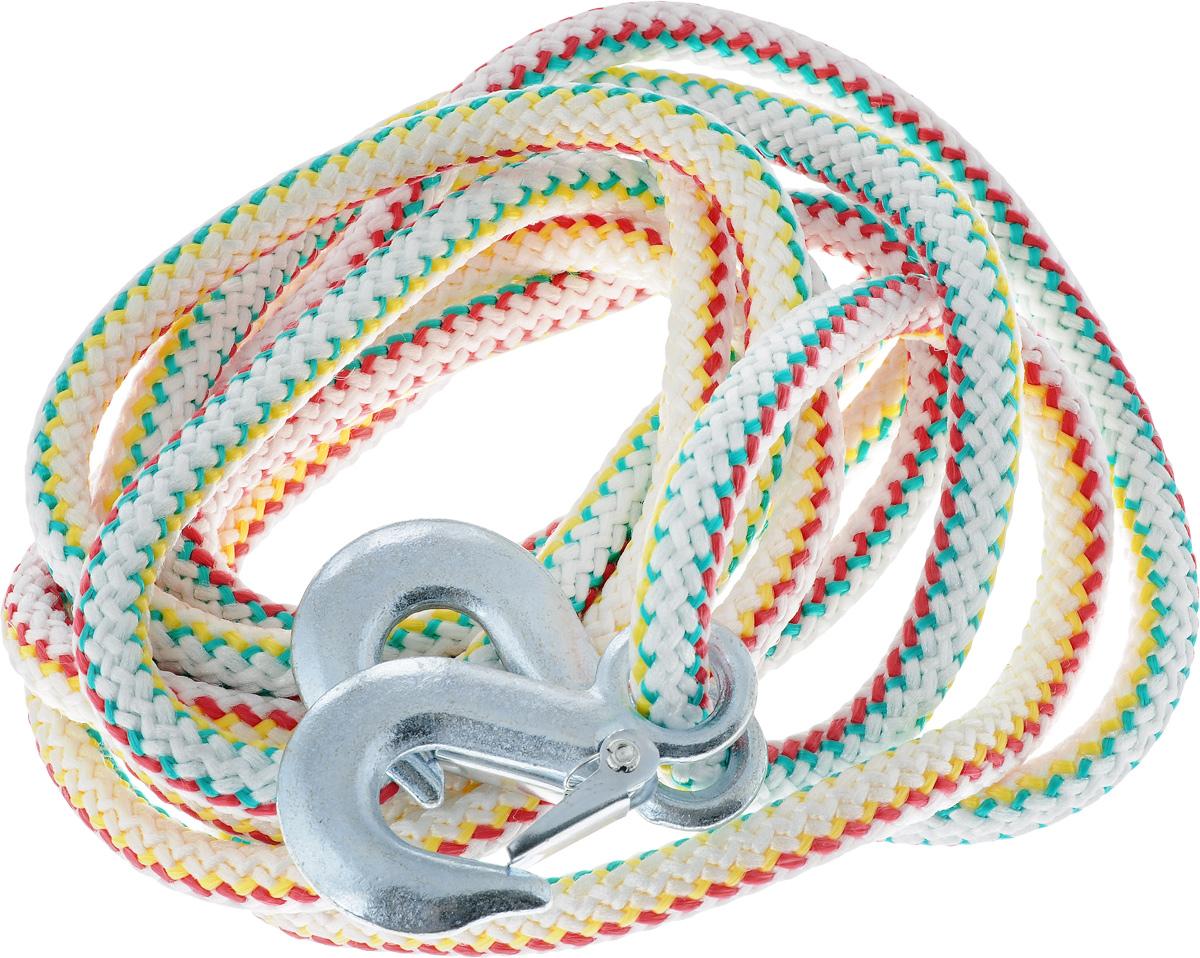 Трос-шнур альпинистский Главдор, с 2 крюками, цвет: красный, зеленый, желтый, диаметр 16 мм, 5 т, 4,73 мGL-253_красный, зеленый, желтыйАльпинистский трос Главдор представляет собой шнур из сверхпрочной полипропиленовой нити с двумя стальными крюками. Специальное плетение веревки обеспечивает эластичность троса и плавный старт автомобиля при буксировке. На протяжении всего срока службы не меняет свои линейные размеры. Трос морозостойкий и влагостойкий. Длина троса соответствует ПДД РФ. Буксировочный трос обязательно должен быть в каждом автомобиле. Он необходим на случай аварийной ситуации или если ваш автомобиль застрял на бездорожье. Максимальная нагрузка: 5 т. Длина троса: 4,73 м. Диаметр троса: 16 мм.