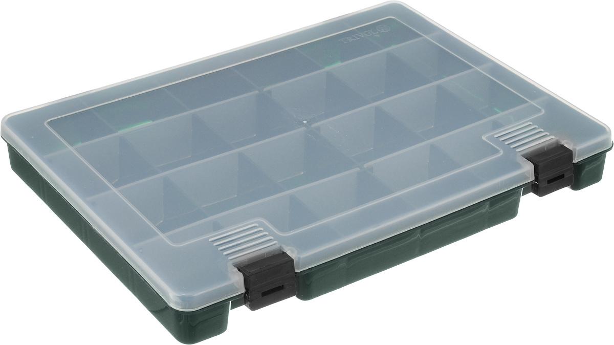 Коробка для мелочей Trivol, цвет: темно-зеленый, прозрачный, 27,4 х 18,8 х 4,5 см498015_темно-зеленыйКоробка для мелочей Trivol, выполненная из прочного полипропилена (пластика), отлично подойдет для хранения канцелярских принадлежностей дома или в офисе, аксессуаров для шитья и рукоделия, болтов и гаек, а также принадлежностей для рыбалки и других видов хобби. Изделие имеет прочные съемные разделители, с помощью которых можно регулировать количество ячеек. Прозрачный материал позволяет видеть содержимое. Крышка коробки плотно закрывается на 2 защелки. Коробка легко моется и чистится. Она поможет держать ваши вещи в порядке. Размер ячейки: 4,5 х 4,5 х 4 см.