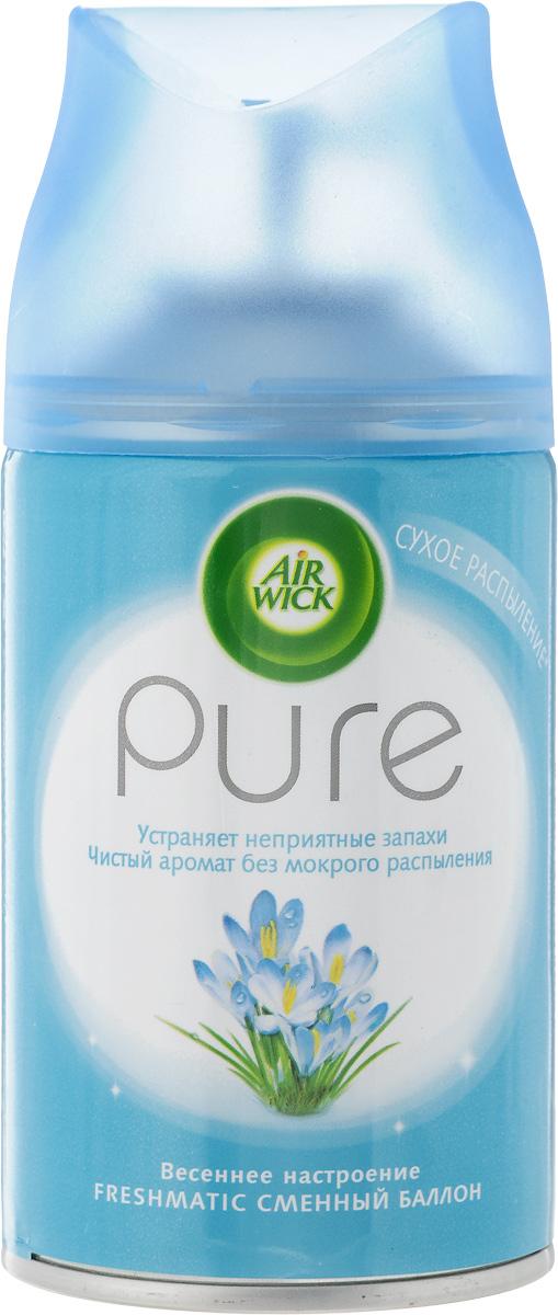 Освежитель воздуха AirWick Pure. Весеннее настроение, сменный баллон, 250 мл11886Pure сменный баллон к автоматическому аэрозольному освежителю воздуха. Просто вставьте аэрозоль в держатель и Air Wick будет автоматически распылять свежий, легкий аромат в вашем доме. Новый освежитель воздуха Air Wick Pure не содержит воды и эффективно устраняет неприятные запахи без мокрого распыления. Используйте освежители воздуха Air Wick Pure в каждой комнате, наполняя ваш дом свежими и приятными ароматами. Используйте только с диспенсером Air Wick Freshmatic. Перед тем, как вставить аэрозоль, проверьте, что диспенсер выключен. Не направляйте в лицо при включении или при установке интервала распыления. После включения распыление начнется автоматически через 15 сек. Внимание! Не разбирать и не давать детям. Использовать только в хорошо проветриваемых помещениях. Не вдыхайте пары аэрозоля. Избегайте попадания в глаза. В случае попадания в глаза или на кожу, промойте водой и обратитесь к врачу. Баллончик находится под давлением. Предохранять от воздействия прямых...