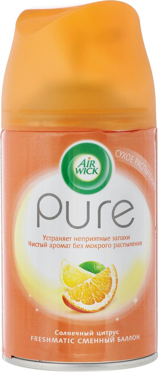 Освежитель воздуха AirWick Pure. Солнечный цитрус, сменный баллон, 250 мл11888Pure сменный баллон к автоматическому аэрозольному освежителю воздуха. Просто вставьте аэрозоль в держатель и Air Wick будет автоматически распылять свежий, легкий аромат в вашем доме. Новый освежитель воздуха Air Wick Pure не содержит воды и эффективно устраняет неприятные запахи без мокрого распыления. Используйте освежители воздуха Air Wick Pure в каждой комнате, наполняя ваш дом свежими и приятными ароматами. Используйте только с диспенсером Air Wick Freshmatic. Перед тем, как вставить аэрозоль, проверьте, что диспенсер выключен. Не направляйте в лицо при включении или при установке интервала распыления. После включения распыление начнется автоматически через 15 сек. Внимание! Не разбирать и не давать детям. Использовать только в хорошо проветриваемых помещениях. Не вдыхайте пары аэрозоля. Избегайте попадания в глаза. В случае попадания в глаза или на кожу, промойте водой и обратитесь к врачу. Баллончик находится под давлением. Предохранять от воздействия прямых...