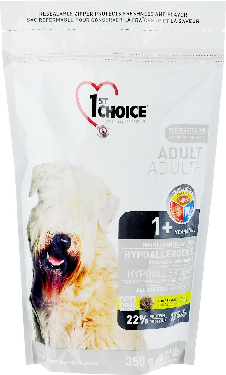 Корм сухой 1st Choice для собак, гипоаллергенный, с уткой и картофелем, 350 г102.322Корм сухой 1st Choice предназначен для собак. Свежая утка (источник гипоаллергенных протеинов) - главный ингредиент этой сбалансированной и вкусной формулы. Корм создан специально для собак с чувствительным желудком и страдающих пищевой аллергией. Без пшеницы, кукурузы и сои. Подходит для взрослых кошей от 1 года старше. Товар сертифицирован.