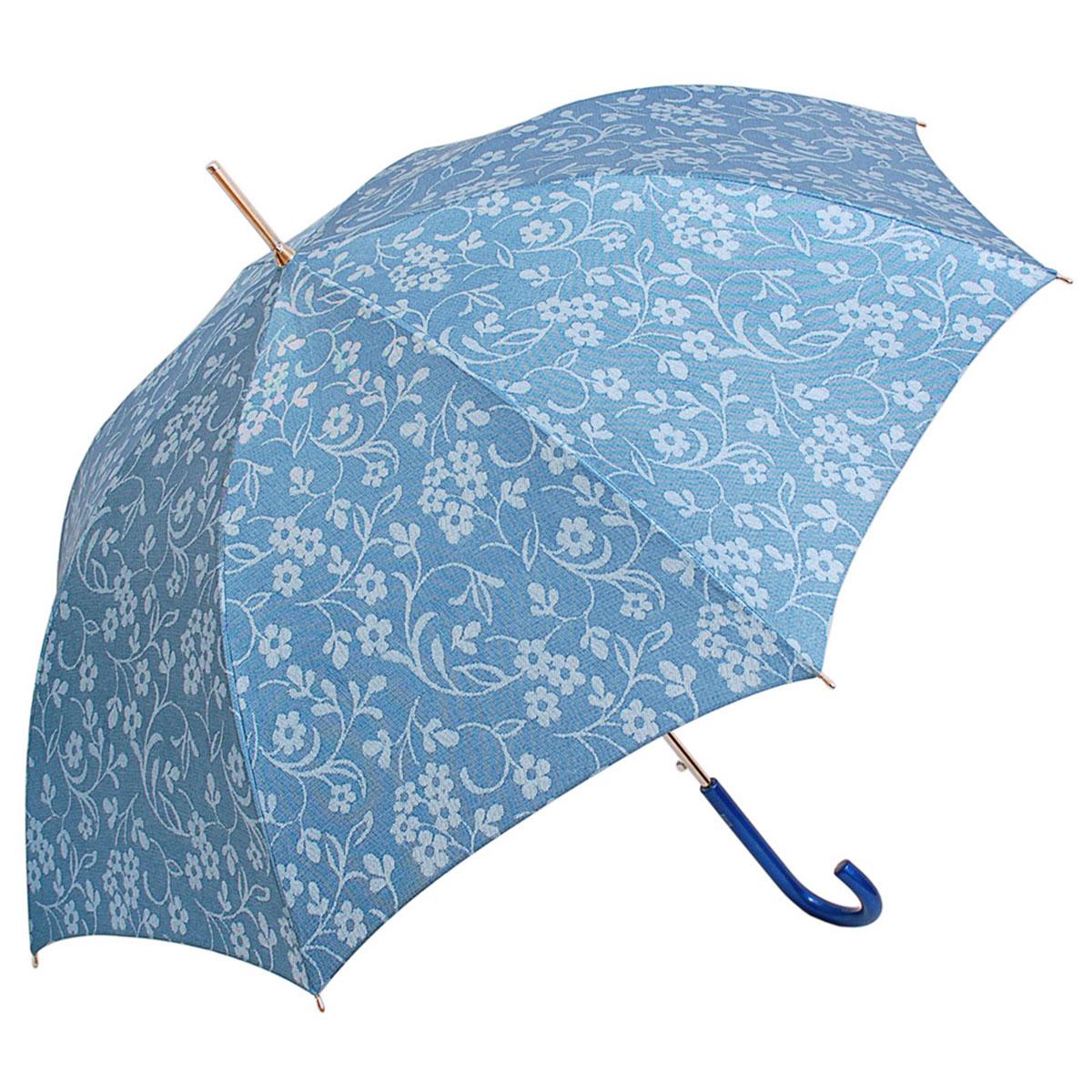 Зонт-трость женский Stilla, цвет: голубой. 652/2 auto652/2 autoЗонт-трость Stilla надежно защитит вас от дождя. Купол, оформленный оригинальным принтом, выполнен из высококачественного ПВХ, который не пропускает воду. Каркас зонта и спицы выполнены из высококарбонистой стали. Зонт имеет автоматический тип сложения: открывается и закрывается при нажатии на кнопку. Удобная ручка выполнена из пластика.